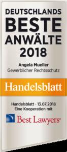 """Auszeichnung """"Deutschlands Beste Anwälte 2018"""" verliehen vom Handelsblatt"""